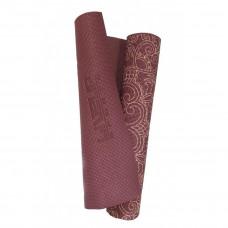Йога-коврик LiveUp PVC PRINTED YOGA MAT, бордовый