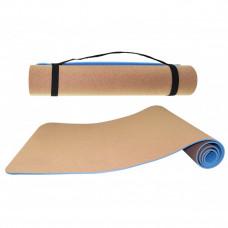 Коврик (мат) для йоги и фитнеса SportVida TPE+Cork 0.6 см SV-HK0318