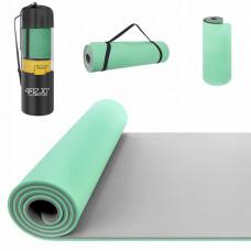 Коврик (мат) для йоги и фитнеса 4FIZJO TPE 1 см 4FJ0202 Mint/Grey