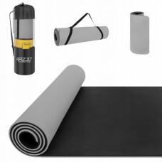 Коврик (мат) для йоги и фитнеса 4FIZJO TPE 1 см 4FJ0203 Grey/Black
