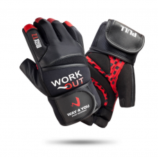 Перчатки для тяжелой атлетики и фитнеса с напульсником Мужские Черный/Красный w-1050
