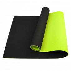 Коврик (мат) для йоги и фитнеса Sportcraft TPE 6 мм ES0017 Black/Green