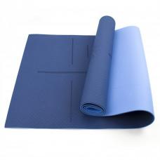 Коврик (мат) для йоги и фитнеса Sportcraft TPE 6 мм ES0023 Blue/Sky Blue