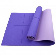 Коврик (мат) для йоги и фитнеса Sportcraft TPE 6 мм ES0026 Purple/Pink