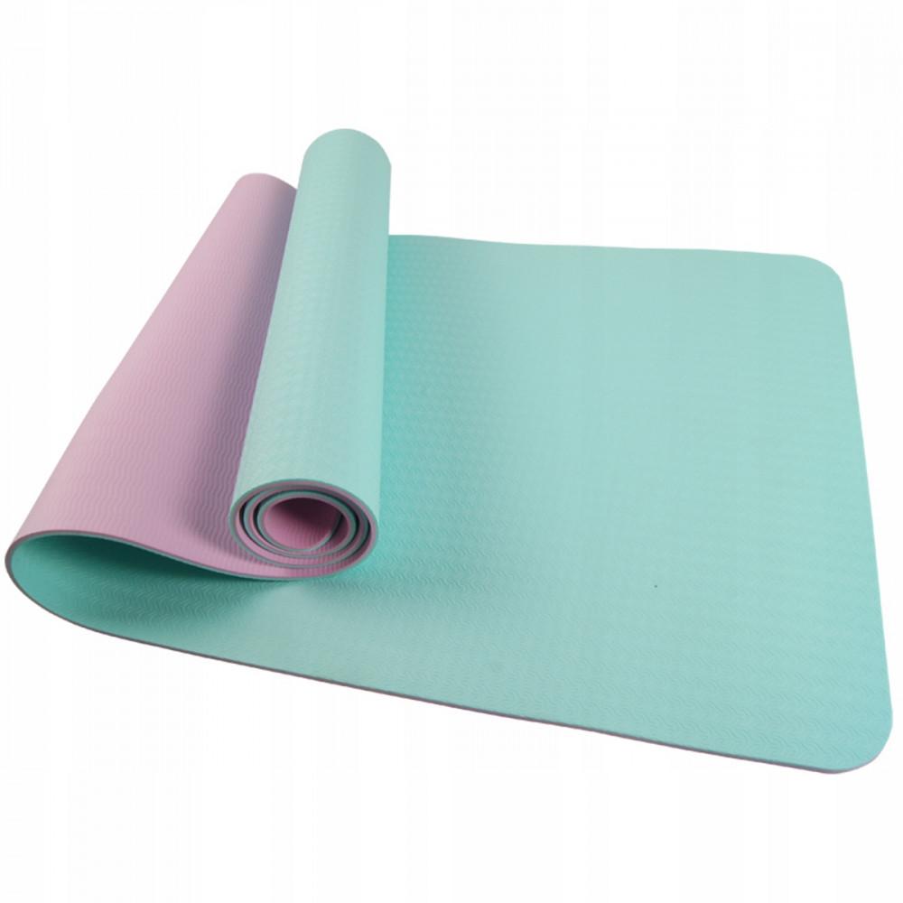 Коврик (мат) для йоги та фітнесу SportVida TPE 4 мм SV-HK0240 Sky Blue/Pink