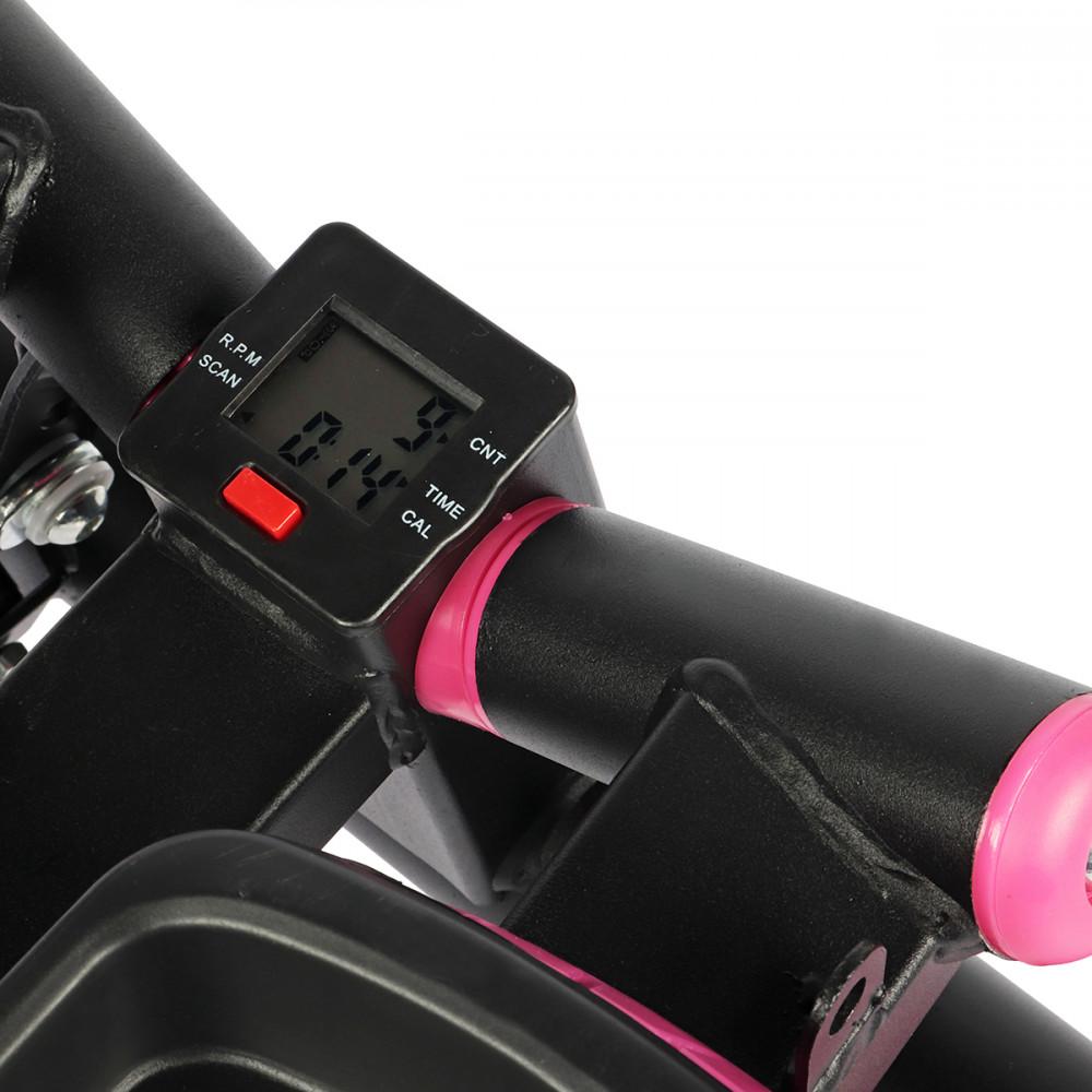 Степпер поворотный (мини-степпер) с эспандерами SportVida SV-HK0360 Black/Pink