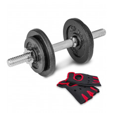 Гантеля металлическая New 10 кг с перчатками
