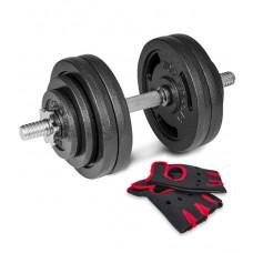 Гантеля металлическая New 30 кг с перчатками