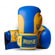 Боксерські рукавички PowerPlay 3021 Ukraine синьо-жовті 10 унцій