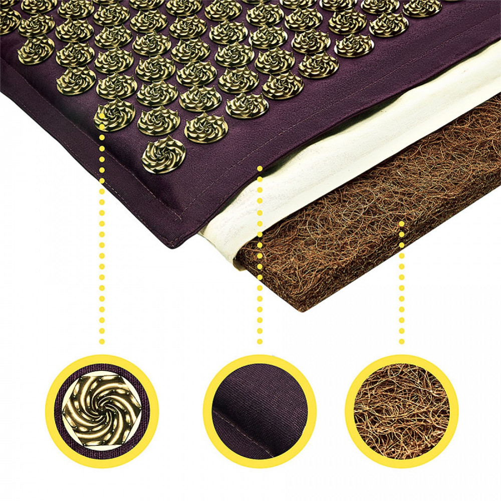 Коврик акупунктурный с подушкой 4FIZJO Eco Mat Аппликатор Кузнецова 68 x 42 см 4FJ0250 Wine Red/Gold