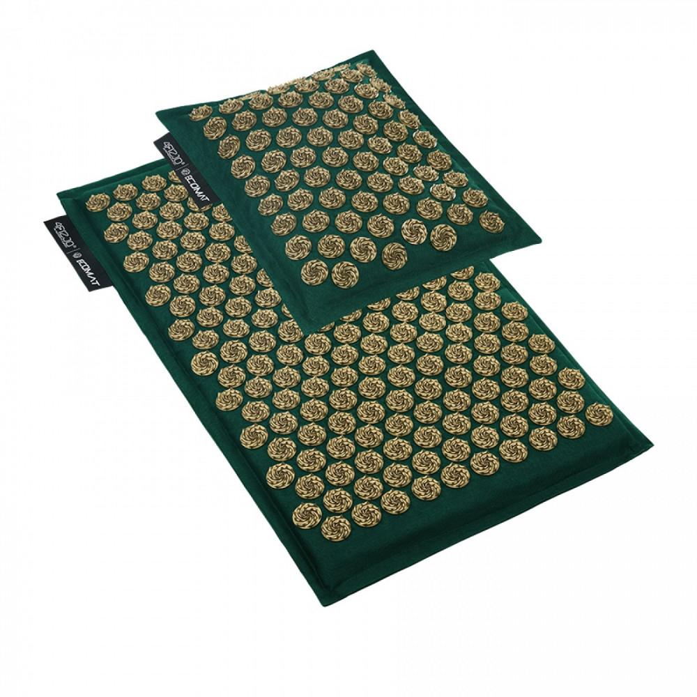 Коврик акупунктурный с подушкой 4FIZJO Eco Mat Аппликатор Кузнецова 68 x 42 см 4FJ0251 Navy Green/Gold