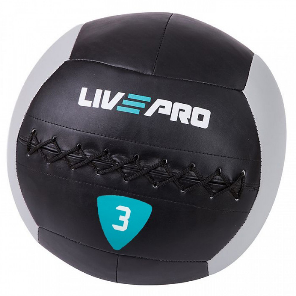 М'яч для кроcсфіта LivePro WALL BALL чорний/сірий, 3 кг
