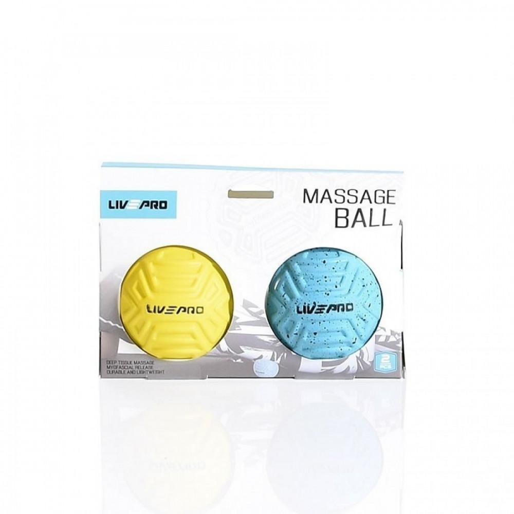Набір м'ячиків для масажу 2 шт. LivePro Foot Massage Ball блакитний/жовтий