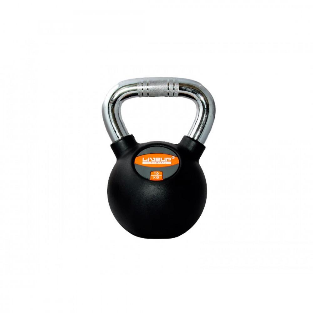 Гиря в гумовій оболонці LiveUp RUBBER KETTEL BELL, 16 кг, LS2044-16