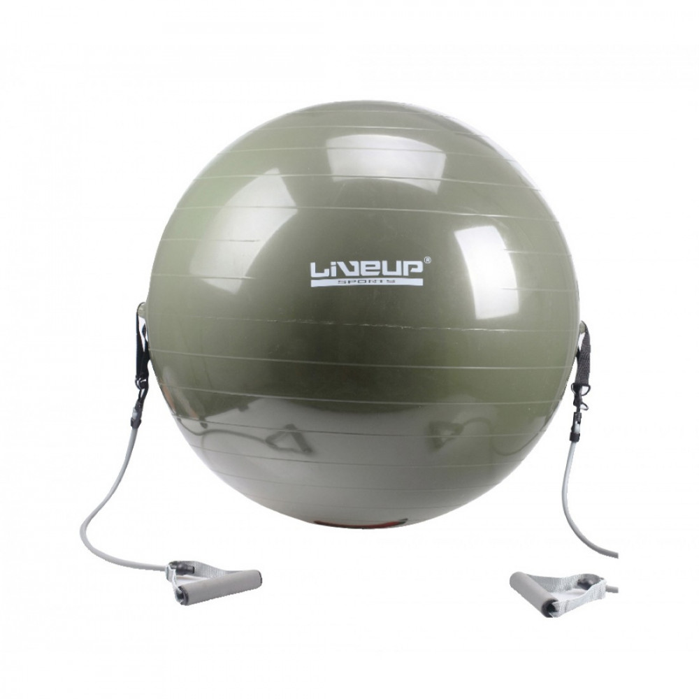 Фітбол з еспандером LiveUp GYM BALL WITH EXPANDER