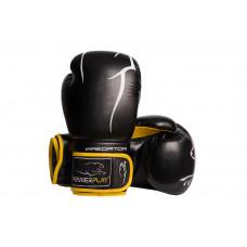 Боксерские перчатки PowerPlay 3018 Черно-Желтые 8 унций