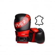 Боксерские перчатки PowerPlay 3023 A Черно-Красные [натуральная кожа] 16 унций