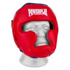 Боксерский шлем тренировочный PowerPlay 3068 PU + Amara Красно-Синий S