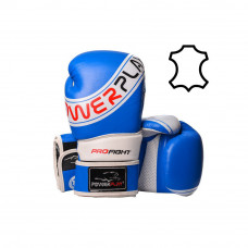 Боксерские перчатки PowerPlay 3023 A Сине-Белые [натуральная кожа] 12 унций