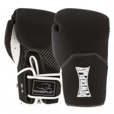 Боксерские перчатки PowerPlay 3011 Черно-Белые карбон 10 унций