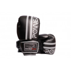 Боксерские перчатки PowerPlay 3010 Черно-Серые 8 унций