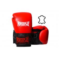 Боксерские перчатки PowerPlay 3015 Красные [натуральная кожа] 16 унций