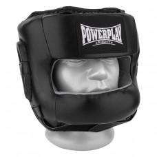 Боксерский шлем тренировочный PowerPlay 3067 с бампером PU + Amara Черный XL