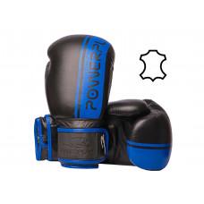 Боксерские перчатки PowerPlay 3022 Черно-Синие [натуральная кожа] 16 унций