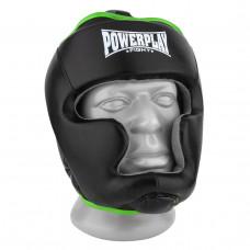 Боксерский шлем тренировочный PowerPlay 3068 PU + Amara Черно-Зеленый M
