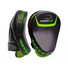 Лапы боксерские PowerPlay 3041 Черно-Зеленые PU [пара]