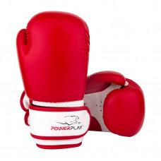 Боксерские перчатки PowerPlay 3004 JR Красно-Белые 8 унций