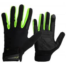 Перчатки для кроссфіту PowerPlay Hit Full Finger Черно-Зеленые L